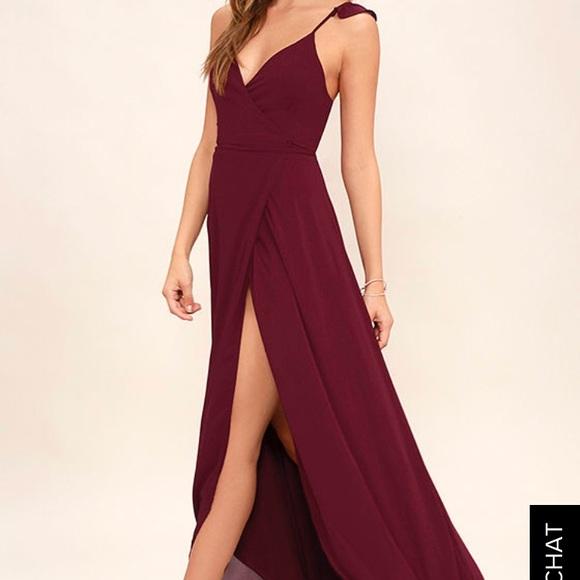 Lulus Dresses Lulus Heres To Us Burgundy Highlow Wrap Dress